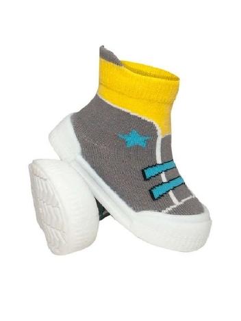 Ponožtičky s gumovou šlapkou - Tenisky s hvězdičkami - šedá, žlutá, vel. 21