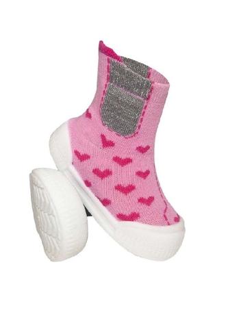 Ponožtičky s gumovou šlapkou - Srdíčka růžové