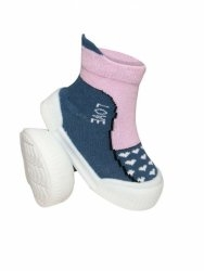 Ponožtičky s gumovou šlapkou - Srdíčka tm. šedá, růžová