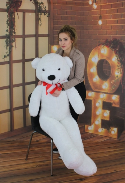Plyšový medvěd 160cm - bílý