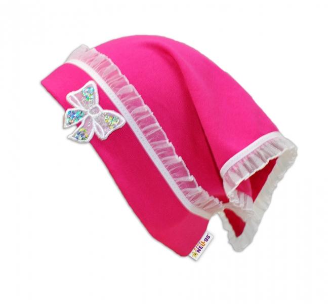 Letní, jarní šátek s mašličkou a volánkem - tm. růžová