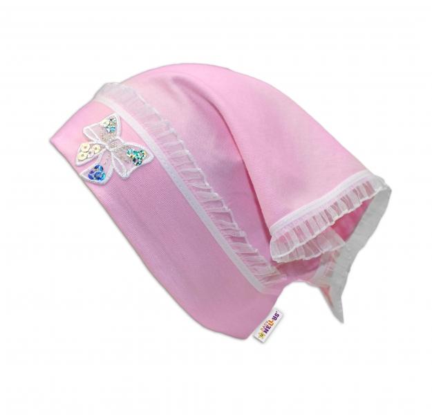 Baby Nellys Letní, jarní šátek s mašličkou a volánkem - sv. růžová