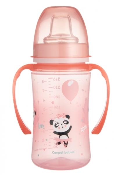 Canpol babies Nevylévací hrníček EasyStart - Panda - růžový