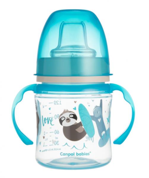 Canpol babies Nevylévací hrníček EasyStart - Zvířátka - modrý