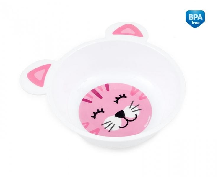 Plastová miska  protiskluzová s oušky Kočička - růžová