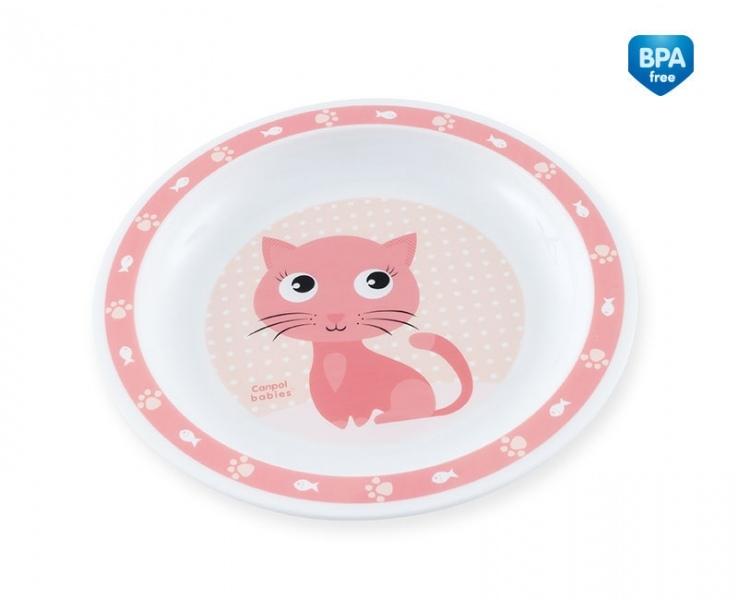 Plastový talířek Kočička - růžový