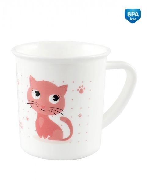 Canpol babies Plastový hrneček bílý - Kočička