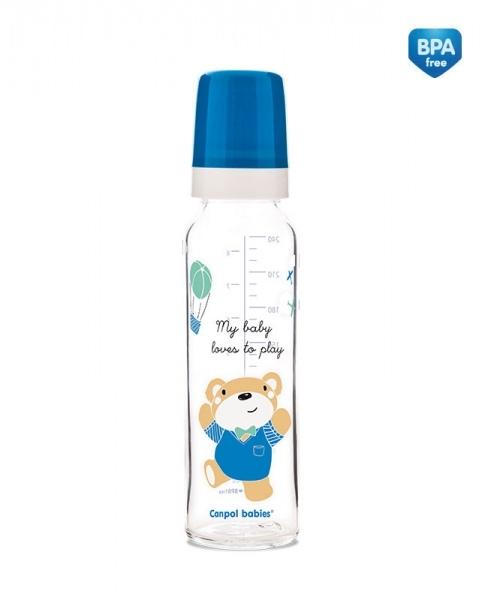 Canpol babies Skleněná lahvička 240ml Sweet Fun  - modrá