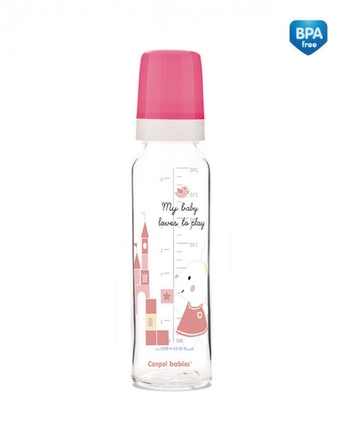 Canpol babies Skleněná lahvička 240ml Sweet Fun  - růžová