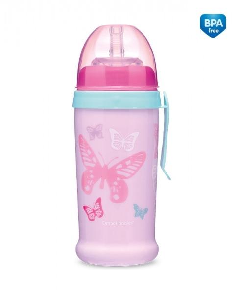Sportovní nekapající láhev Butterfly - růžová