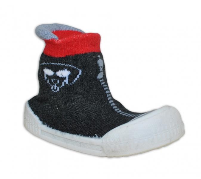 Ponožtičky s gumovou šlapkou - Pejsek tm. šedá, červená
