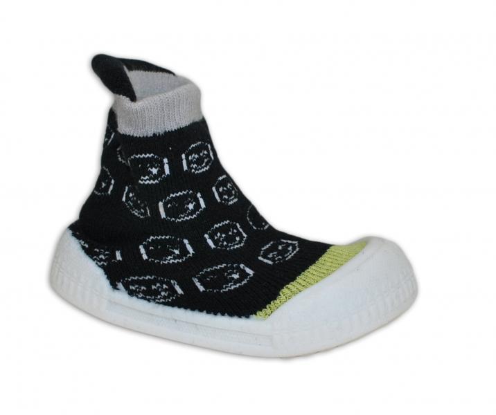 Ponožtičky s gumovou šlapkou - Smajlíci černá, zelená, vel. 22