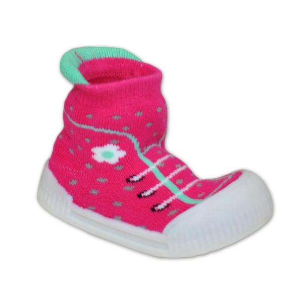 Ponožtičky s gumovou šlapkou - Tenisky s květinkami - tm. růžová, vel. 22