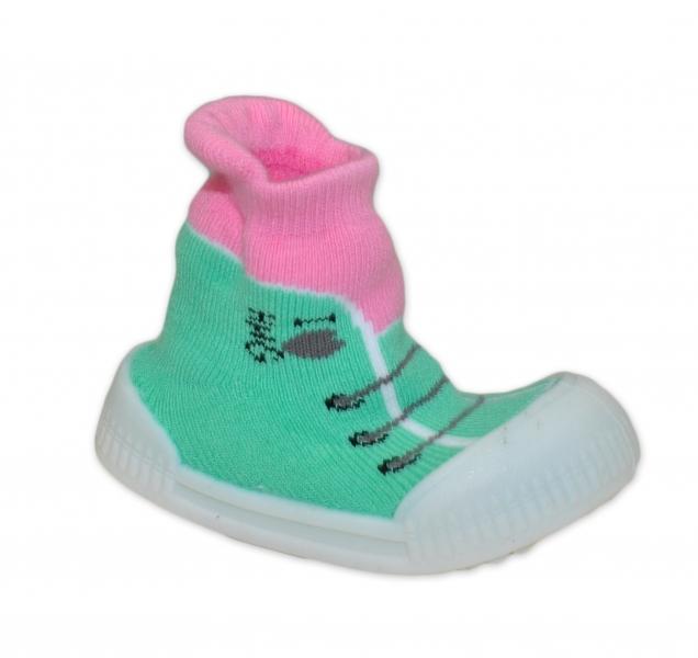 Ponožtičky s gumovou šlapkou - Tenisky - sv. zelená, růžová, vel. 21