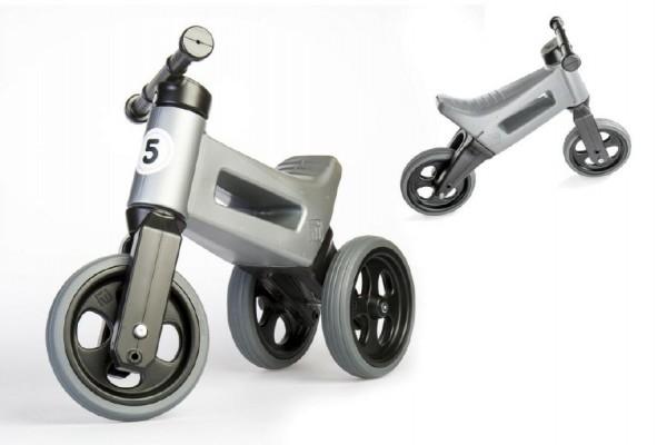 Odrážedlo šedé FUNNY WHEELS 2v1 výška sedadla nastavitelná 28/31cm nosnost 50kg 18m+
