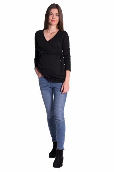 Be MaaMaa Zavinovací těhotenské triko/tunika - černá, vel. XXL