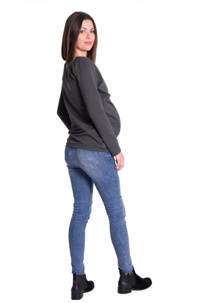 Be MaaMaa Zavinovací těhotenské triko/tunika - grafit, vel. S