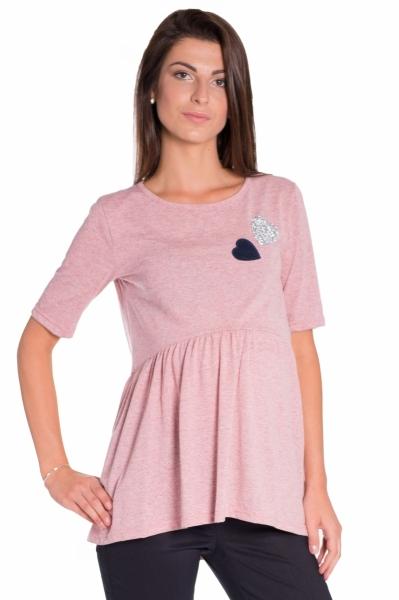 Be MaaMaa Elegantní tunika nejen pro těhotné, krátký rukáv - růžová, vel. M