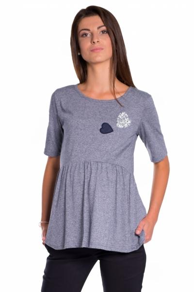 Elegantní tunika nejen pro těhotné, krátký rukáv - granát, vel. S