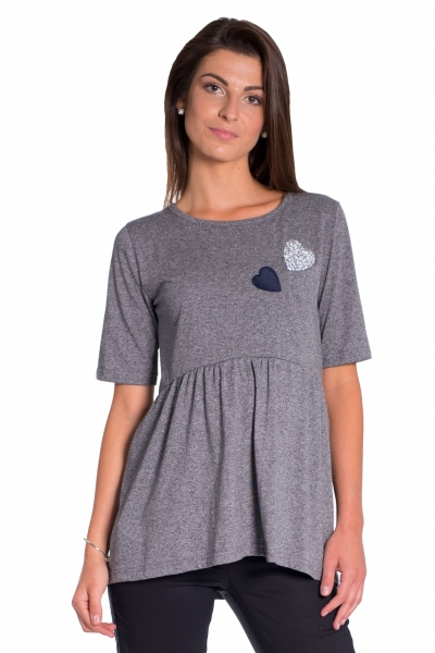 Be MaaMaa Elegantní tunika nejen pro těhotné, krátký rukáv - grafit, vel. XL