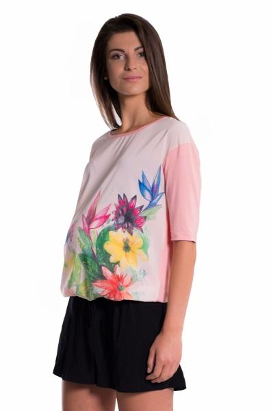 Be MaaMaa Těhotenské triko/halenka s potiskem květin - růžové, vel. M, Velikost: M (38)