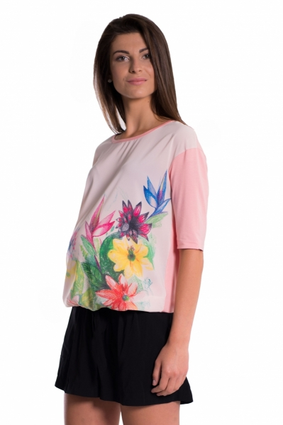 Be MaaMaa Těhotenské triko/halenka s potiskem květin - růžové, vel. XXL
