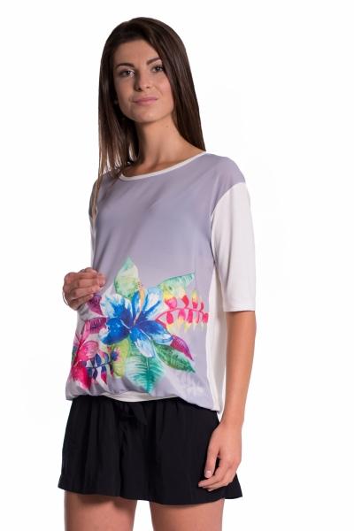 Be MaaMaa Těhotenské triko/halenka s potiskem květin - šedé