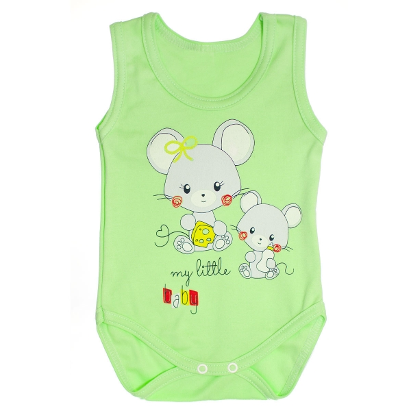 Body na ramínka Myšky vel. 80 - zelené, Velikost: 80 (9-12m)