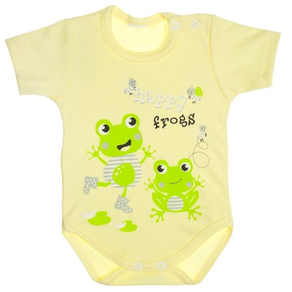 Bavlněné body, krátký rukáv - Žabky, žluté, vel. 86