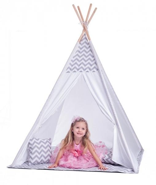 Stan pro děti teepee, týpí s výbavou - bílo/šedy