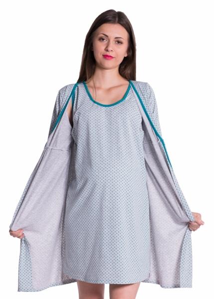 Be MaaMaa Těhotenská, kojící noční košile + župan - tečky, zelená, vel. XXL
