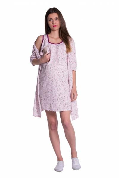 Těhotenská, kojící noční košile + župan - květinky, růžová, vel. XXL