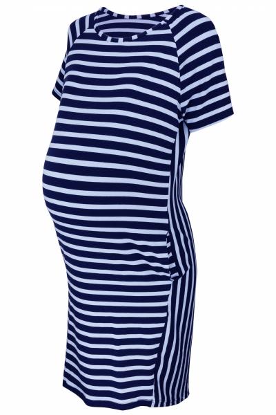 Be MaaMaa Těhotenské proužkované šaty s kr. rukávem a kapsami - granát/modrá, vel. XXL
