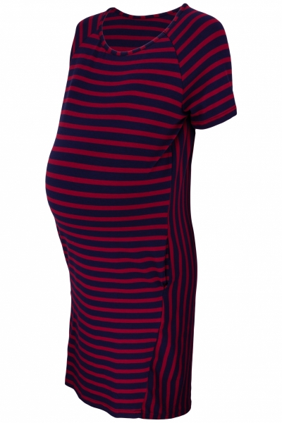 Be MaaMaa Těhotenské proužkované šaty s kr. rukávem a kapsami - bordo/granát, vel. XL