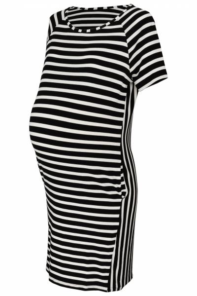 Be MaaMaa Těhotenské proužkované šaty s kr. rukávem a kapsami - ecru/černá