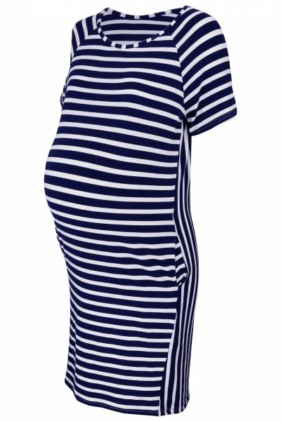 Be MaaMaa Těhotenské proužkované šaty s kr. rukávem a kapsami - ecru/granát, vel. M
