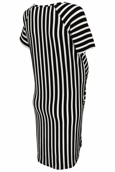Be MaaMaa Těhotenské proužkované šaty s kr. rukávem a kapsami - ecru/granát, vel. XL