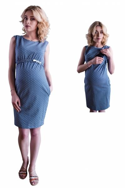 Kojící,těhotenské šaty ve sportovním stylu zdobené jemnou mašličkou - jeans, vel. XL