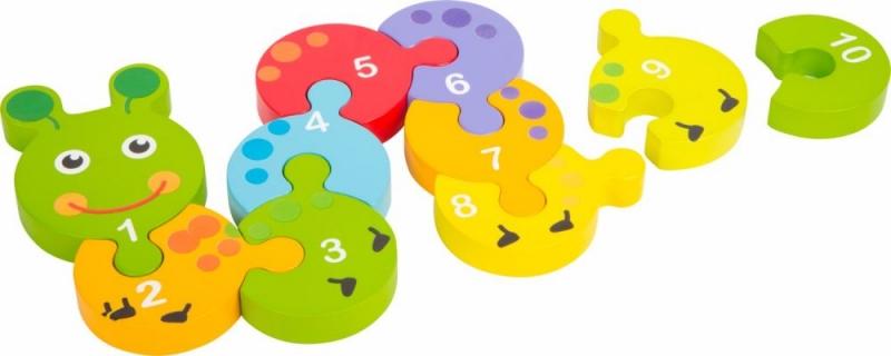 Small foot Dřevěné puzzle housenka s čísly 1 -10