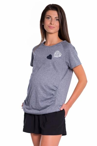 Těhotenské triko kr. rukáv - granát, vel. M