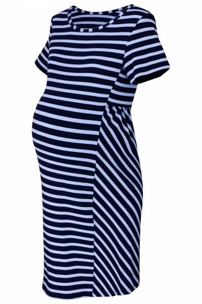 Be MaaMaa Těhotenské proužkované šaty s kr. rukávem - granát/modrá, vel. M