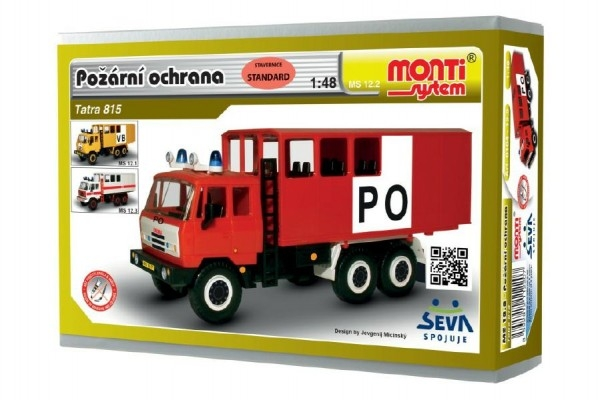 Stavebnice Monti 12.2 Tatra 815 Hasiči Požární ochrana 1:48 v krabici 22x15x6cm