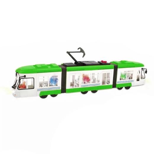 Tramvaj mluvící česky se zvukem a světlem, zelená, 46 cm