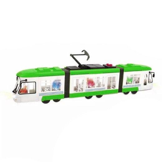 Tramvaj mluvící česky se zvukem a světlem zelená 46 cm