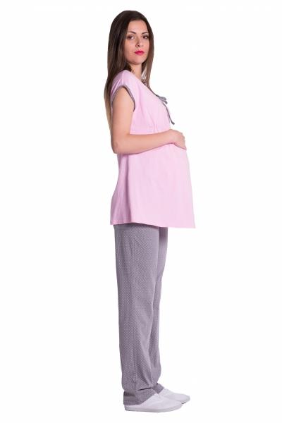 Be MaaMaa Těhotenské,kojící pyžamo - růžovo/šedé, vel. L