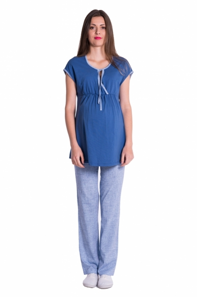 Be MaaMaa Těhotenské,kojící pyžamo - jeans/modrá, vel. L