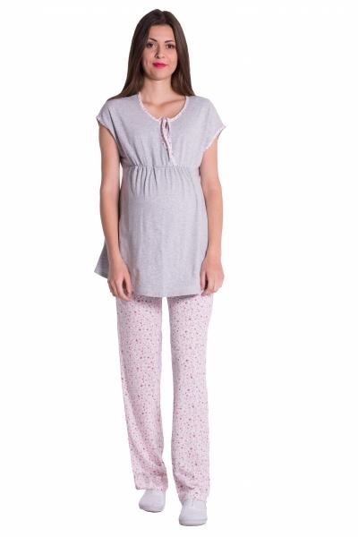Be MaaMaa Těhotenské,kojící pyžamo květinky - šedá/růžová, vel. M