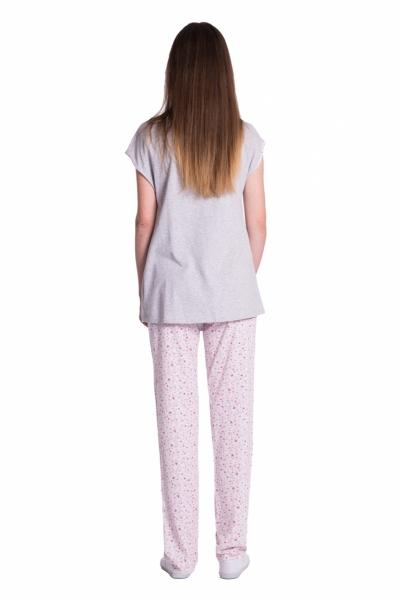 Be MaaMaa Těhotenské,kojící pyžamo květinky - šedá/růžová, vel. XL