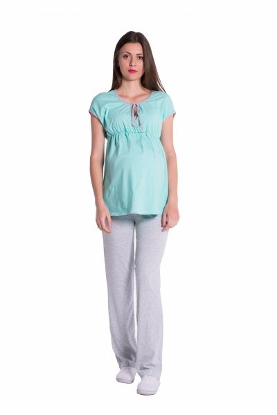 Be MaaMaa Těhotenské,kojící pyžamo - mátová/šedá, vel. S, Velikost: S (36)