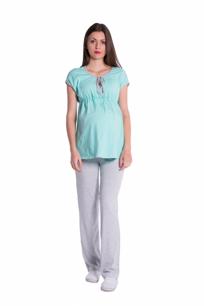 Be MaaMaa Těhotenské,kojící pyžamo - mátová/šedá, vel. XL